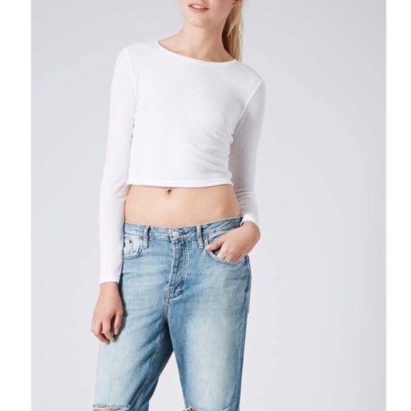 265379fe637444 Topshop Tops | White Long Sleeve Crop Top | Poshmark